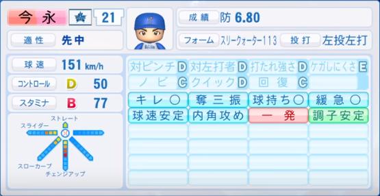 今永_横浜ベイスターズ_パワプロ能力データ_2019年シーズン終了時
