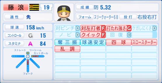 藤浪_阪神_パワプロ能力データ_2019年シーズン終了時_投手能力