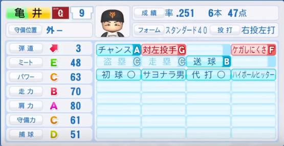 亀井_巨人_パワプロ能力データ_2018年シーズン終了時