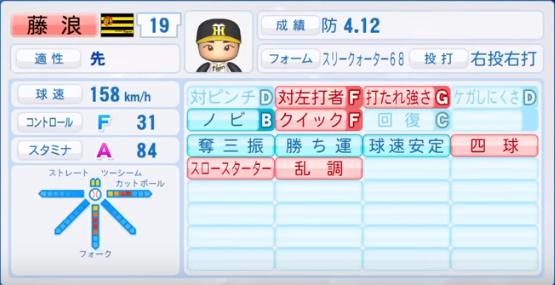 藤浪晋太郎_阪神タイガース_パワプロ能力データ_2018年シーズン終了時