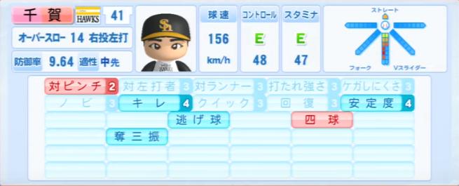 千賀_ソフトバンクホークス_パワプロ能力データ_2013年シーズン終了時