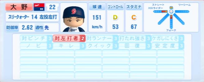 大野雄大_中日ドラゴンズ_パワプロ能力データ_2013年シーズン終了時