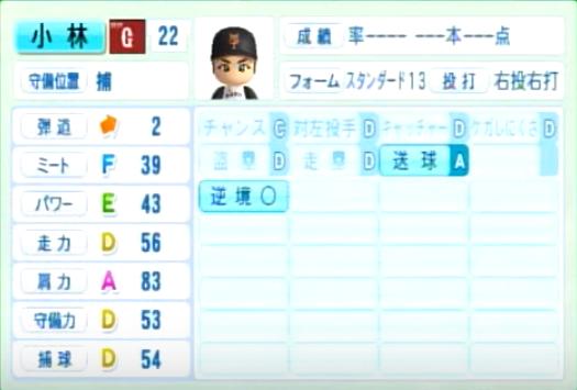 小林誠司_巨人_パワプロ能力データ_2014年シーズン終了時