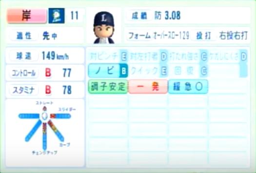 岸孝之_西武ライオンズ_パワプロ能力データ_2014年シーズン終了時