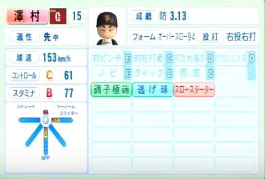 澤村拓一_巨人_パワプロ能力データ_2014年シーズン終了時