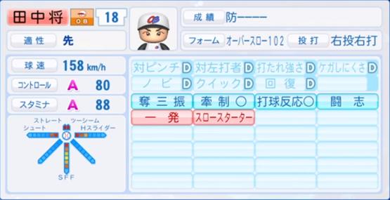 田中将大_ヤンキース_パワプロ能力データ_2018年開幕時