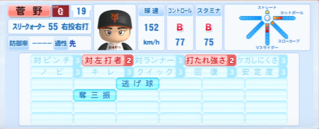 菅野智之_巨人_パワプロ能力データ_2013年シーズン終了時