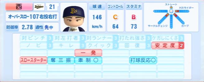 西勇輝_オリックスバファローズ_パワプロ能力データ_2013年シーズン終了時