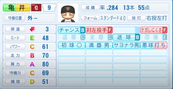 亀井善行_巨人_パワプロ能力データ_2020年シーズン終了時_11月26日アプデ