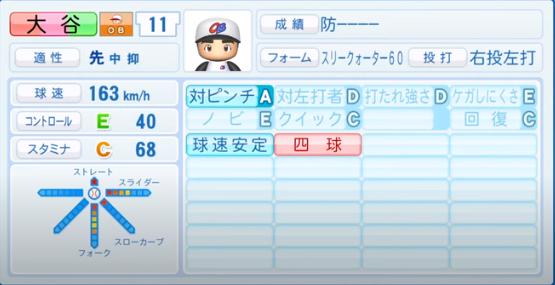 大谷翔平(投手)_OB_パワプロ2020能力データ_7月9日Ver