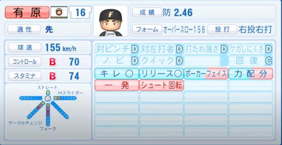 有原航平_日本ハムファイターズ_パワプロ能力データ_2020年シーズン終了時_11月26日アプデ