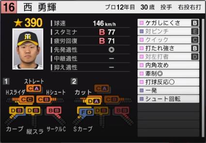 西勇輝_阪神タイガース_プロスピ能力データ_2020年最終版_11月25日
